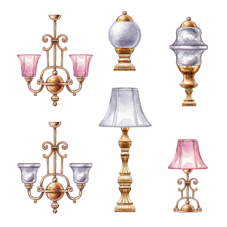 watercolor illustration, interior design elements, assorted lamp, boudoir accessories, clip art isolated on white background