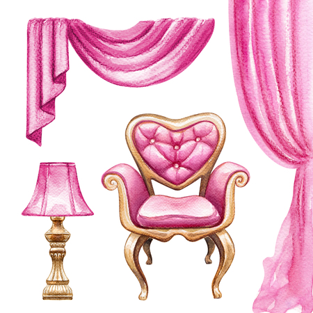 watercolor illustration, interior design elements, curtain, lamp, chair, boudoir furniture, clip art isolated on white background Stock Photo