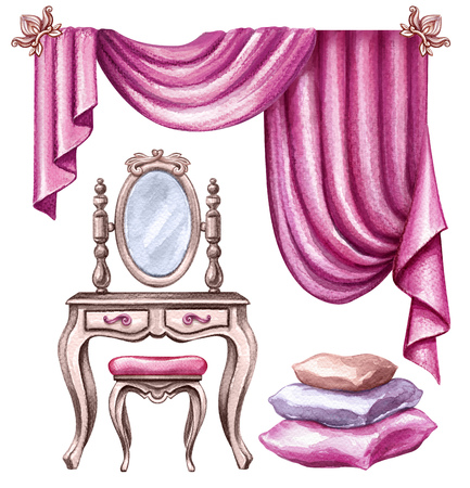 watercolor illustration, interior design elements, window curtain, drapery, mirror, chair, pillows, boudoir furniture, clip art isolated on white background Stock Photo