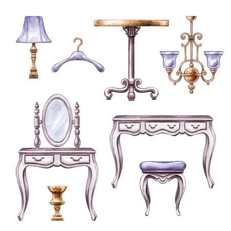 Aquarel illustratie, vintage boudoir kamer meubels, accessoires, interieur elementen, clip art geïsoleerd op een witte achtergrond Stockfoto