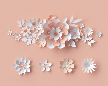 card: 3d render, abstract paper flowers, bridal bouquet, decorative floral design elements. peachy rose pink background