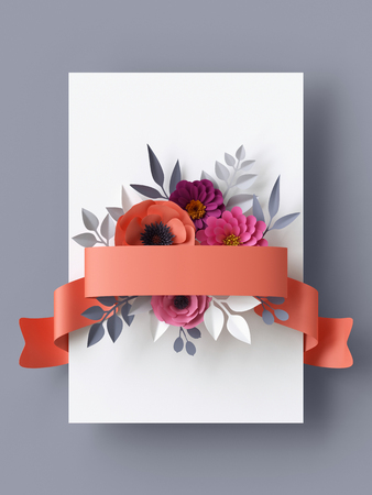 greeting season: 3d render, abstract paper flowers, vertical floral background, blank card template, coral red ribbon tag Stock Photo