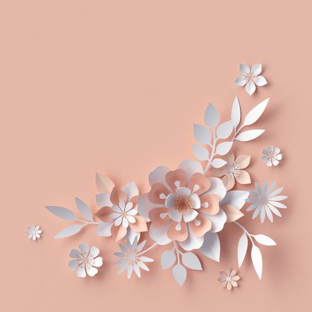 3d render, abstract paper flowers, decorative floral background, greeting card template, creative corner design element Stock Photo