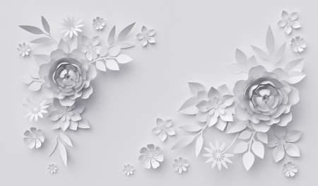 3d render, abstract white paper flowers, horizontal floral background, decoration, greeting card template