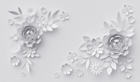 3D render, abstracte witte papier bloemen, horizontale bloemen achtergrond, decoratie, wenskaart sjabloon