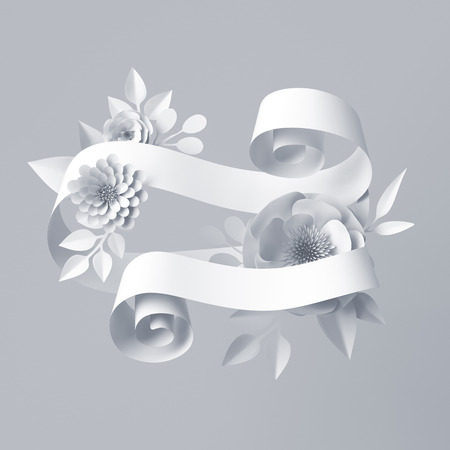 3d render, abstract white curly ribbon, paper flowers, festive floral background, white wedding card template, blank label Stock Photo