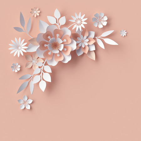 peachy: render, abstract paper flowers, decorative corner, peachy rose pink background, greeting card template, floral craft design elements Stock Photo