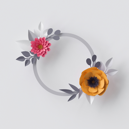 abstract flowers: 3d render, abstract paper flowers, floral background, blank round frame, greeting card template Stock Photo
