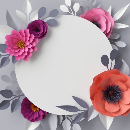 3d render, abstract paper flowers, floral background, blank round frame, greeting card template Stock Photo