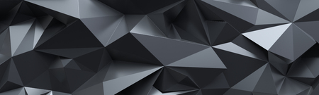 3d render, abstract black crystal background, geometrical backdrop, wide panoramic polygonal wallpaper