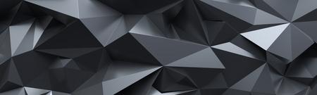 Render 3D, fondo abstracto de cristal negro, telón de fondo geométrico, papel tapiz panorámico poligonal amplio Foto de archivo - 77389740
