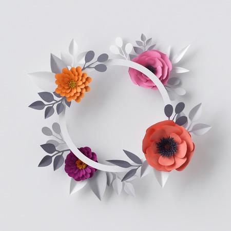 3D render, abstracte papier bloemen, bloemen achtergrond, leeg ronde frame, wenskaart sjabloon