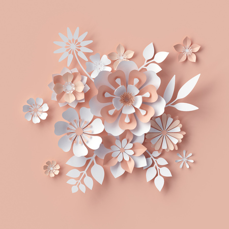 3d render, abstract paper flowers, decorative peach floral background, greeting card template, bridal bouquet, craft design elements