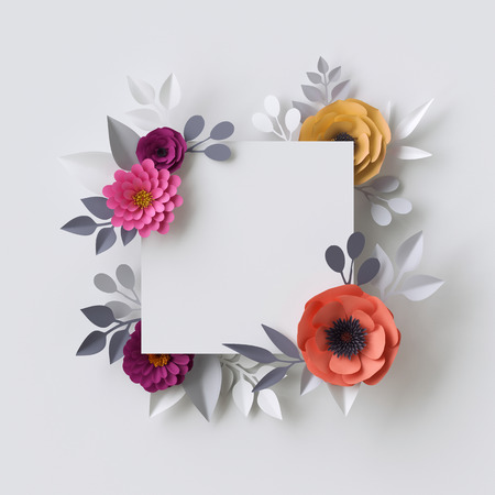 3d render, abstract paper flowers, floral background, blank square frame, greeting card template Stock Photo
