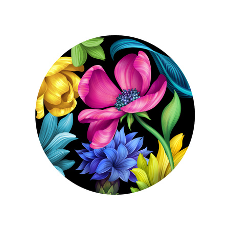 sophisticate: botanical floral illustration, tropical ornament, wild flowers, isolated on black background, pink, yellow tulip, green leaves, round plate design