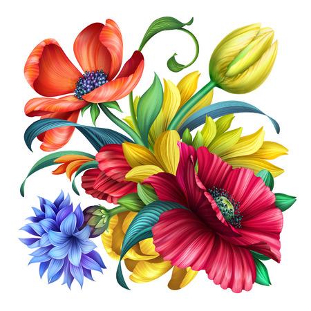 botanical floral illustration, bouquet of wild flowers, poppy, cornflower, tulip, isolated on white