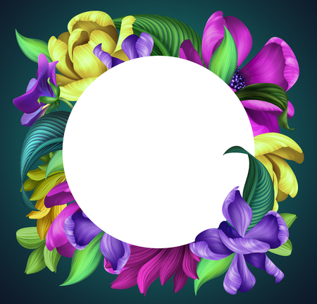 round botanical frame, floral greeting card template, tropical ornament, wild flowers illustration, isolated on dark background, pink, yellow tulip, green leaves, blank banner design Stock Photo