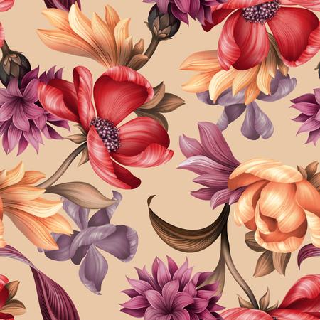 Naadloze bloemenpatroon, wilde rode paarse bloemen, botanische illustratie, kleurrijke achtergrond, textielontwerp