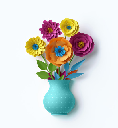 digital: 3d render, digital illustration, cute vase with colorful paper flowers bouquet inside, isolated on white background, greeting card, handmade decor, craft, decorative floral composition