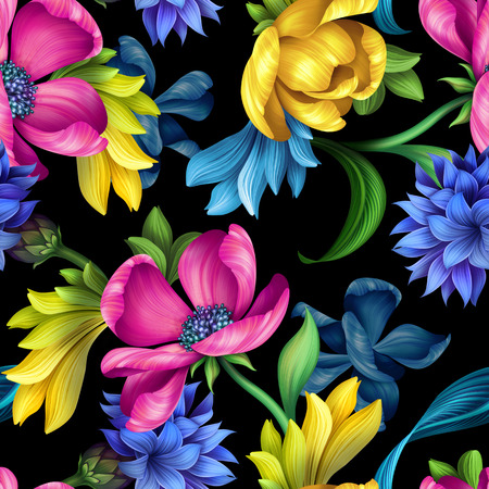 floristry: seamless pattern, botanical floral illustration, natural ornament, pink, yellow tulip, blue cornflower, green leaves, wild flowers, colorful background, textile design