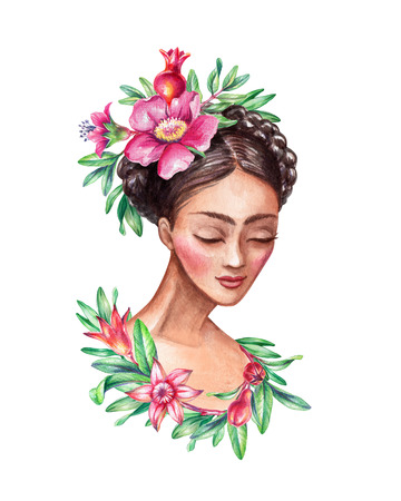 young leaves: watercolor illustration, beautiful young woman portrait, braid decorated with pomegranate flowers, green leaves, hair style, clip art isolated on white background