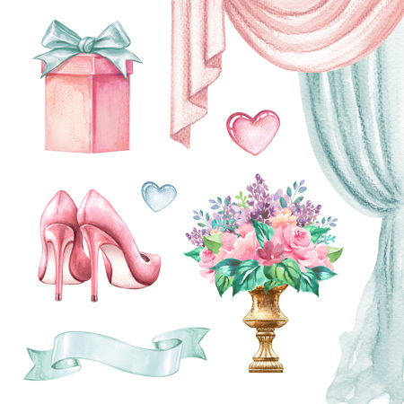 watercolor wedding illustration, festive accessories, bridal elements, clip art isolated on white background