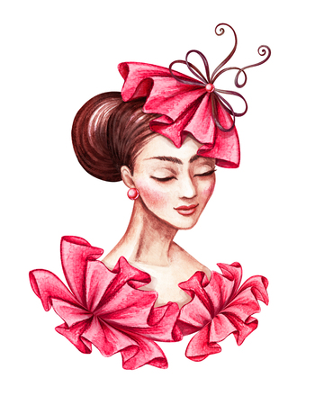 eyes are closed: watercolor illustration, beautiful young woman portrait, wearing fashionable hat, sophisticated French lady, red ruffle dress, clip art isolated on white background
