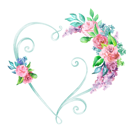 watercolor illustration, floral heart frame, decorative shape, wedding flower decor, clip art isolated on white background