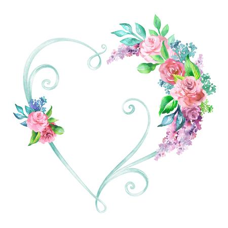 wedding decor: watercolor illustration, floral heart frame, decorative shape, wedding flower decor, clip art isolated on white background