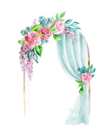水彩結婚式イラスト、お祝いフレーム、装飾的なアーチ、窓のカーテン、カーテン、花の装飾、白い背景で隔離のクリップアート