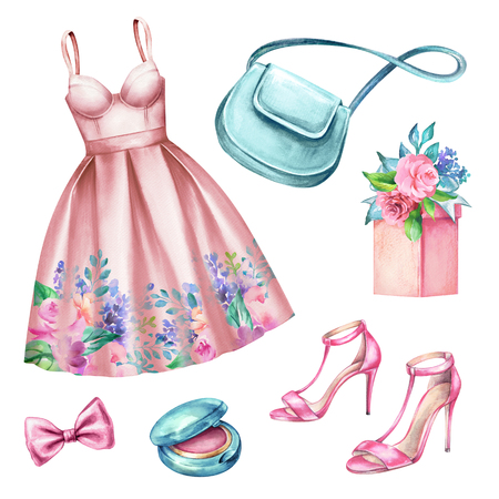 watercolour: watercolor wedding fashion illustration, festive accessories, bridal elements, woman summer look, clothes clip art isolated on white background
