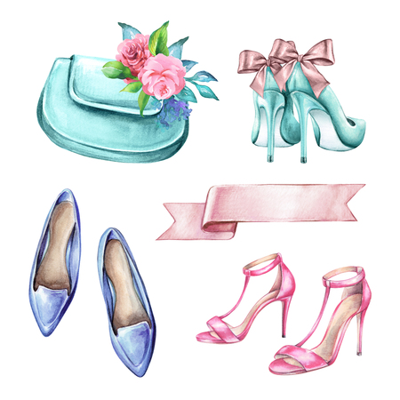 水彩ファッションのイラストは、結婚式のアクセサリー、ブライダルの要素、靴、バッグ、白い背景で隔離のクリップアート