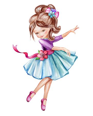 aquarel illustratie, schattige kleine ballerina, jong meisje in blauwe jurk, dansende kind, pop, illustraties geïsoleerd op een witte achtergrond