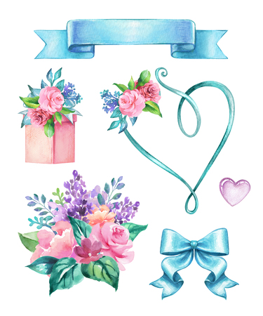 watercolor wedding decor illustration, festive floral elements, rose flowers, holiday clip art isolated on white background Stock Photo
