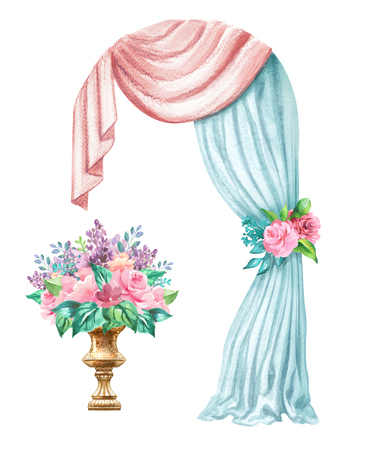 watercolor wedding illustration, festive frame, decorative arch, window curtain, drapery, flower decoration, clip art isolated on white background