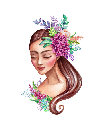 watercolor illustration, beautiful young woman portrait, fairy tale princess, long hair decorated with wild flowers, clip art isolated on white background