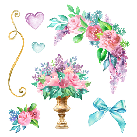 watercolor wedding decor illustration, festive floral elements, rose flowers clip art isolated on white background