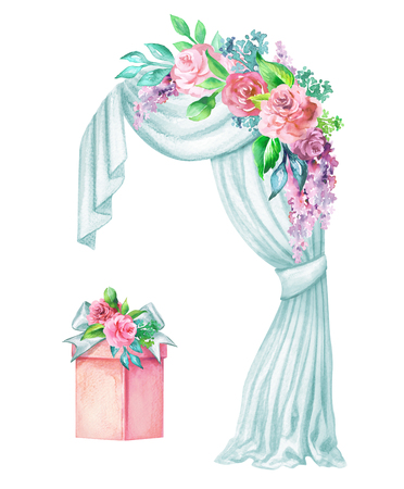 watercolor wedding illustration, decorative arch, window curtain, drapery, flower garland decoration, gift box, clip art isolated on white background