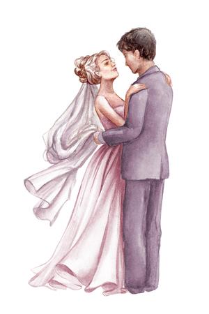 Illustrazione matrimonio acquerello, coppia romantica, sposa e sposo, marito e moglie, uomo e donna, appena sposato