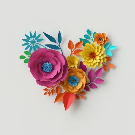 3d render, digital illustration, abstract colorful paper flowers, quilling craft, handmade festive decoration, vivid floral heart, vibrant background, mint pink yellow Stockfoto