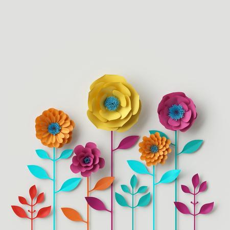 3d 렌더링, 디지털 일러스트 레이 션, 추상 다채로운 종이 꽃, quilling 공예, 수 제 축제 장식, 생생한 꽃 배경, 민트 핑크 옐로우