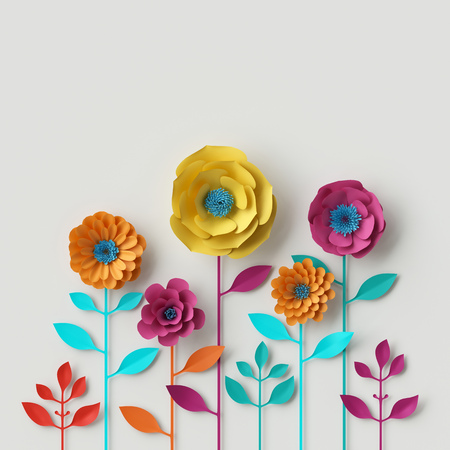 3d render, digital illustration, abstract colorful paper flowers, quilling craft, handmade festive decoration, vivid floral background, mint pink yellow 版權商用圖片 - 77628773