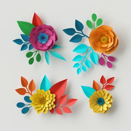 3d 렌더링, 디지털 일러스트, 생생한 종이 꽃, 장식 플로랄 디자인 요소, 클립 아트 설정, 축제 장식, 흰색 배경에 고립