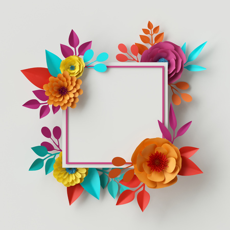 3d render, digital illustration, abstract frame, colorful paper flowers, quilling craft, handmade festive decoration, vivid floral background, mint pink yellow, rectangular card template