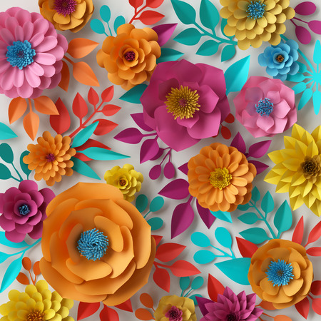 3d render, digital illustration, colorful paper flowers wallpaper, spring summer background, floral bouquet isolated on white, vibrant colors, mint pink orange yellow Stockfoto