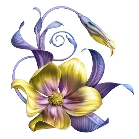 추상 열 대 꽃, 식물 그림, 장식 배열, 스크롤 나뭇잎, 흰색 배경에 고립 된 클립 아트 요소