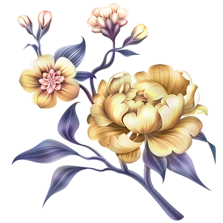 abstract flower, botanical illustration, decorative blooming twig, peony, rose, sakura, leaves, clip art element isolated on white background
