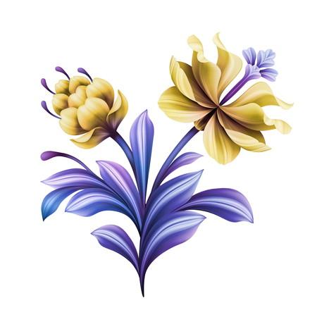 abstract flower, botanical illustration, decorative tulip, rose, lily, curly leaves, vintage acanthus, clip art element isolated on white background