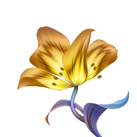 abstract tropical flower, botanical illustration, decorative tulip, curly leaves, clip art element isolated on white background