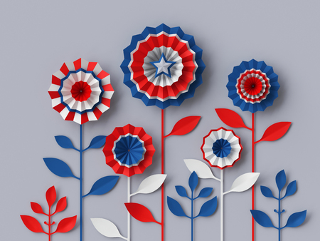 holiday party: 3d render, digital illustration, abstract red blue paper flowers, party decoration, 4th july patriotic background, USA independence day celebration Stock Photo